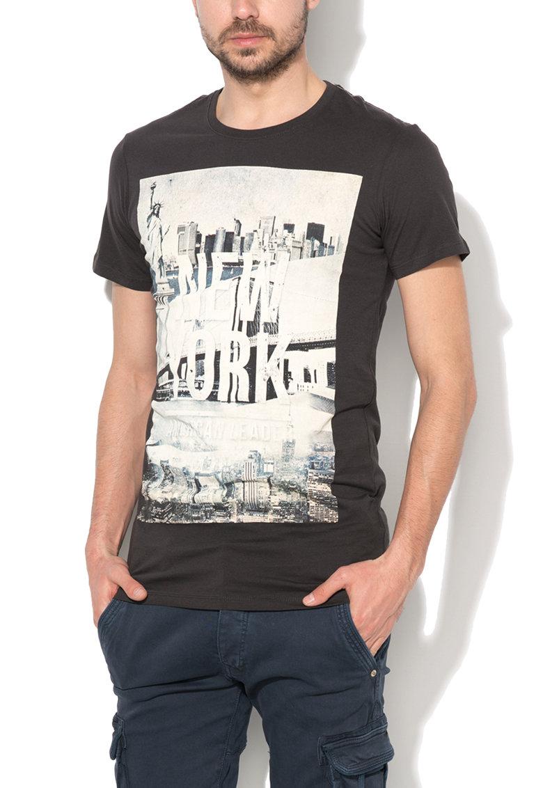 Alcott Tricou negru cu imprimeu inspirat de New York