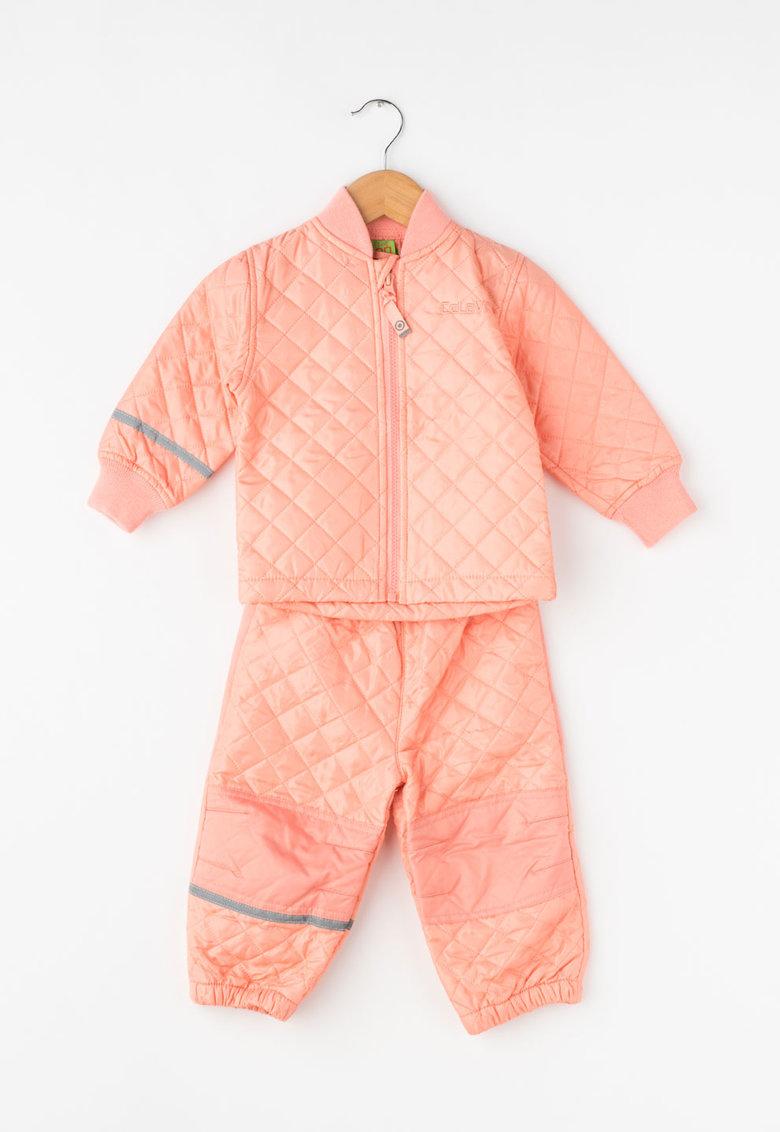 CeLaVi Set roz piersica de jacheta si pantaloni matlasati
