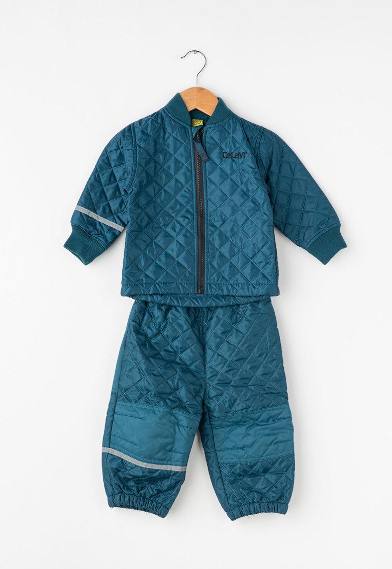 Set albastru petrol de jacheta si pantaloni matlasati de la CeLaVi
