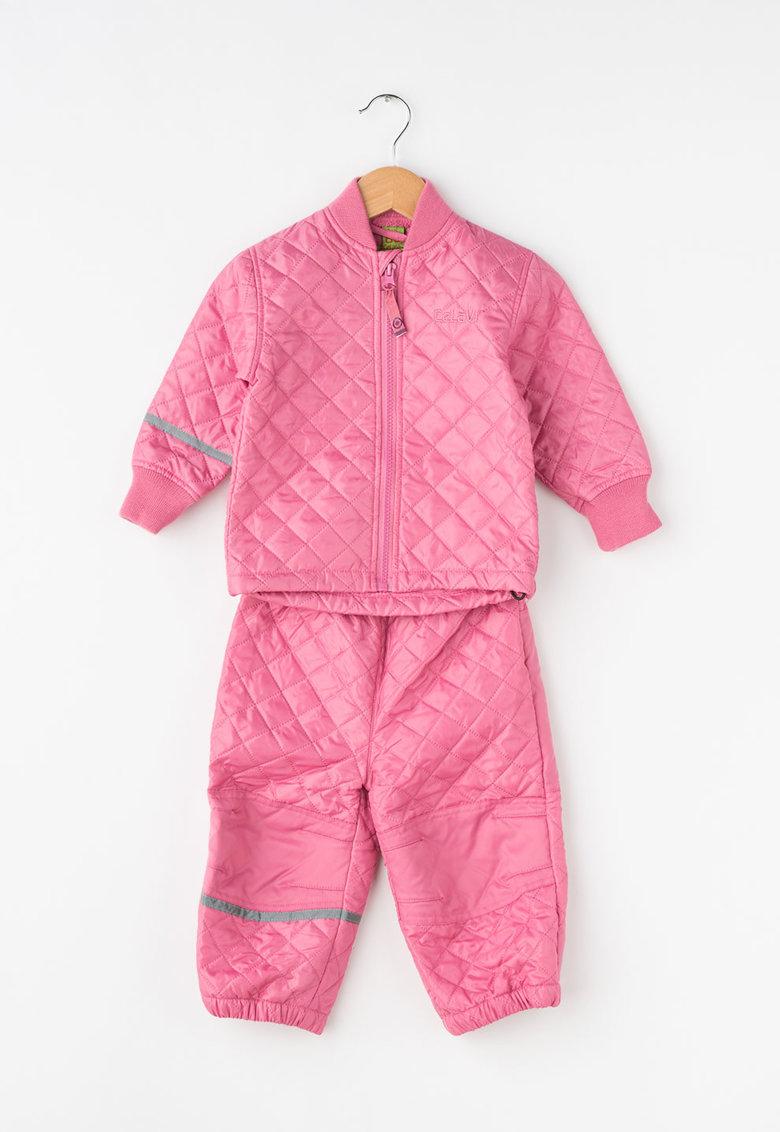 Set roz de jacheta si pantaloni matlasati de la CeLaVi