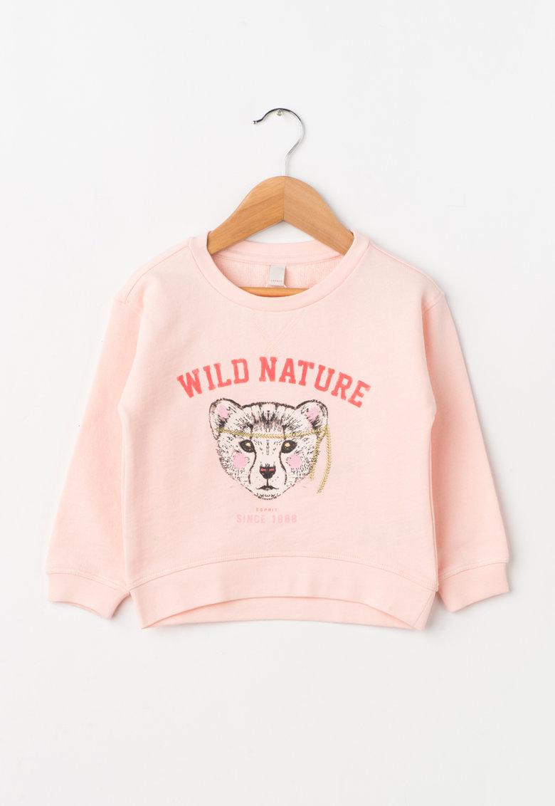 Esprit Bluza sport roz cu imprimeu frontal