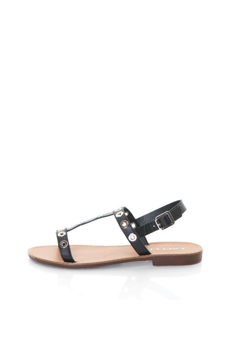 Sandale negre de piele cu detalii metalice