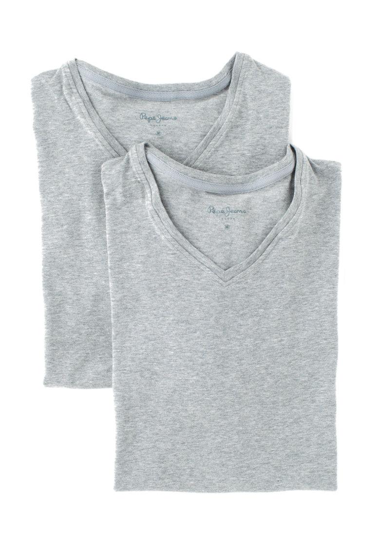 Set de tricouri de casa gri cu decolteu in V Aiden – 2 piese Pepe Jeans London