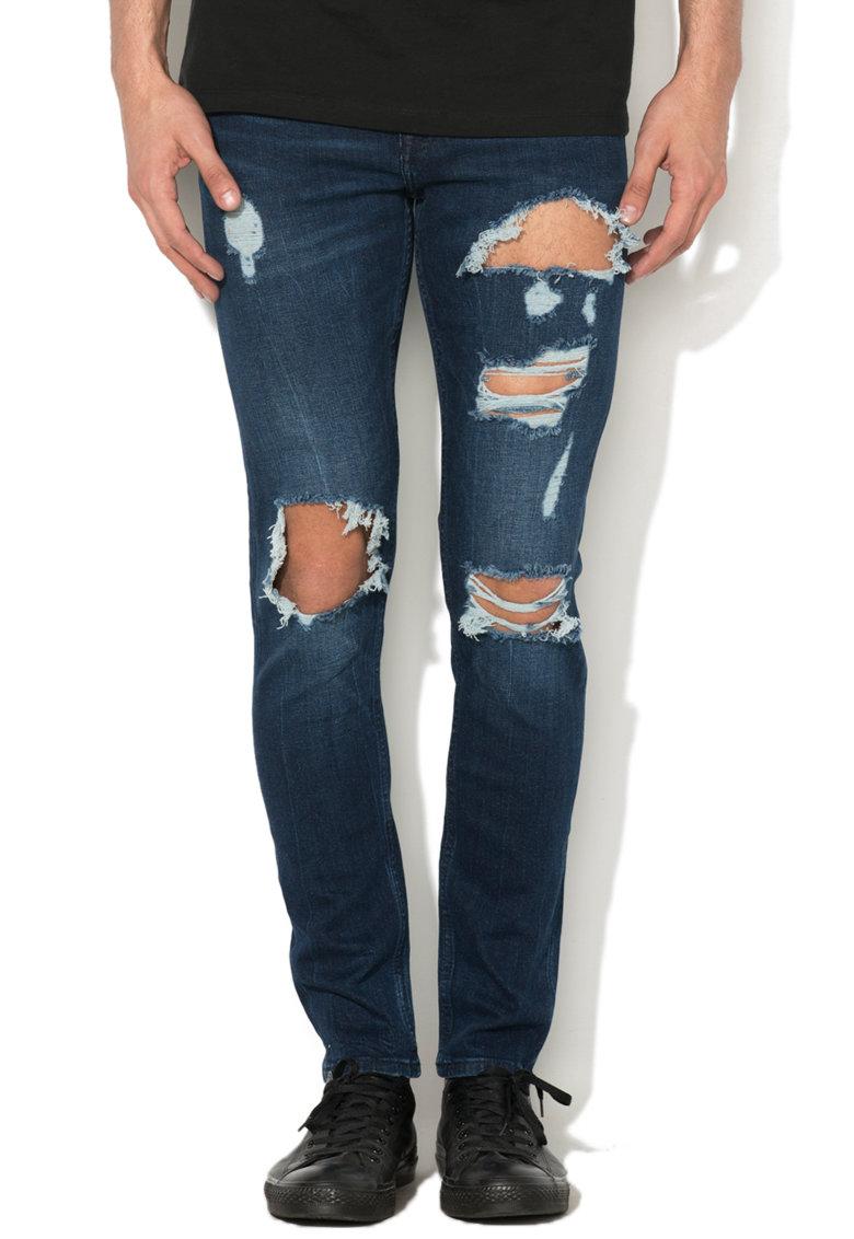 New Look Jeansi elastici skinny albastri cu aspect deteriorat