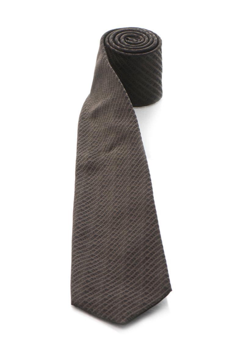 Roberto Cavalli Cravata maro cafea de matase cu model logo