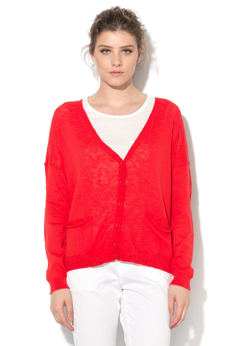 United Colors Of Benetton Cardigan rosu tricotat fin cu buzunare