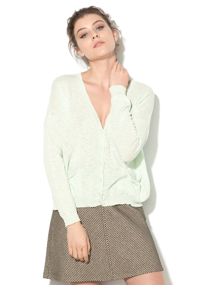 Cardigan verde menta tricotat fin cu buzunare de la United Colors Of Benetton