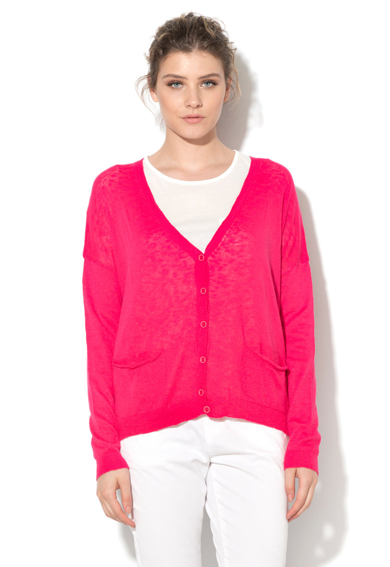 United Colors Of Benetton Cardigan roz aprins tricotat fin cu buzunare