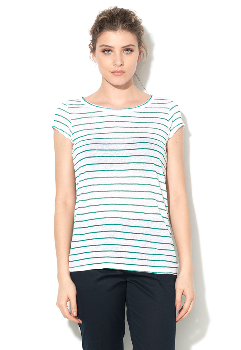 United Colors Of Benetton Tricou alb cu verde de in