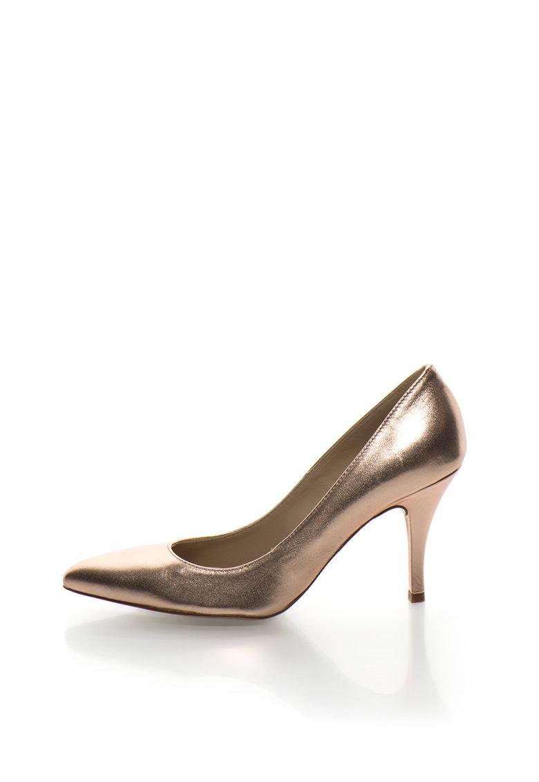Pantofi auriu rose de piele cu varf ascutit
