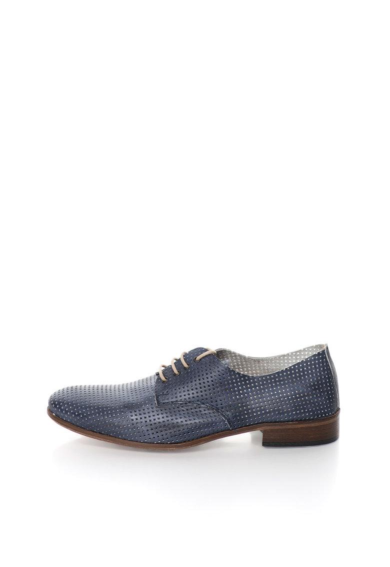 Zee Lane Pantofi derby bleumarin stins de piele cu model perforat