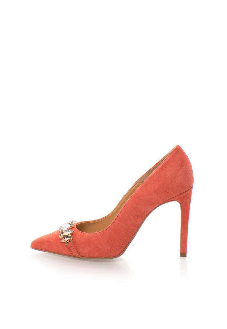 Zee Lane Collection Pantofi stiletto roz somon de piele intoarsa cu strasuri