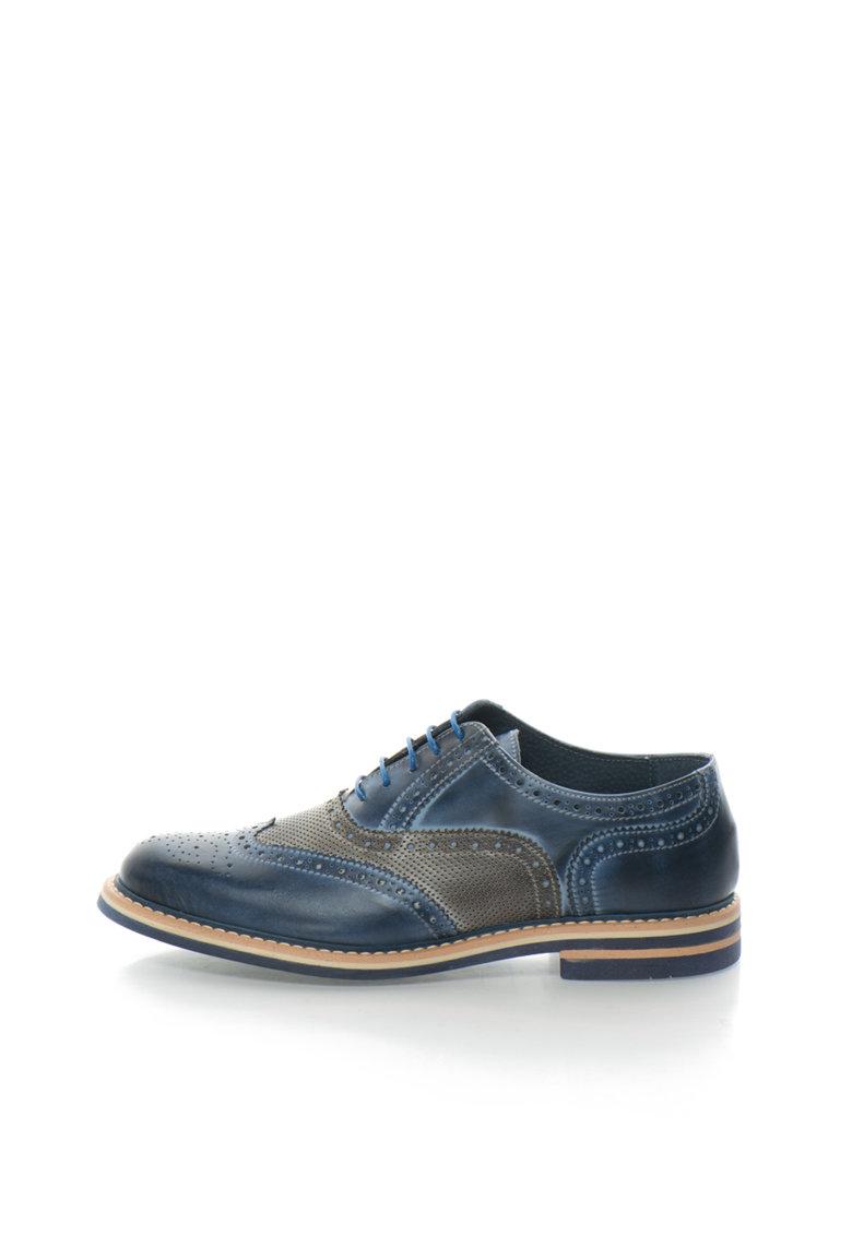 Zee Lane Collection Pantofi brogue albastru cu gri de piele