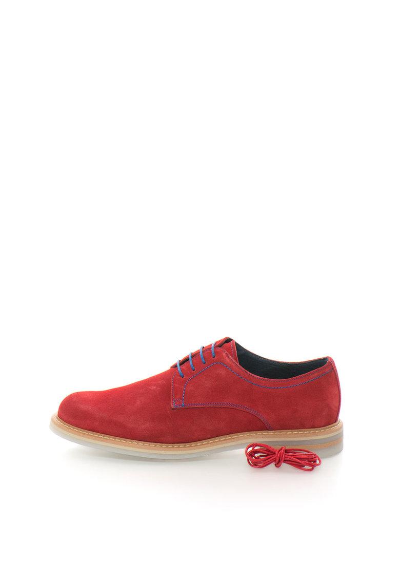 Pantofi derby rosii din piele intoarsa de la Zee Lane Collection