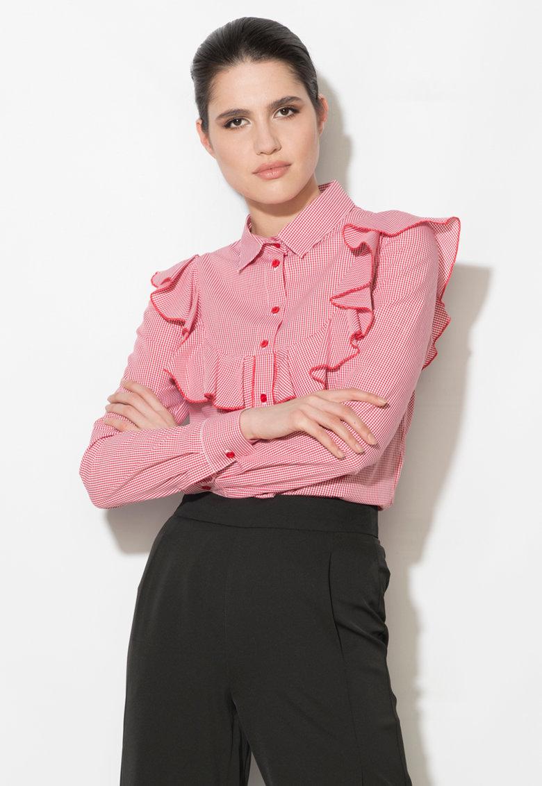 Camasa cu model gingham rosu cu alb de la Zee Lane Denim