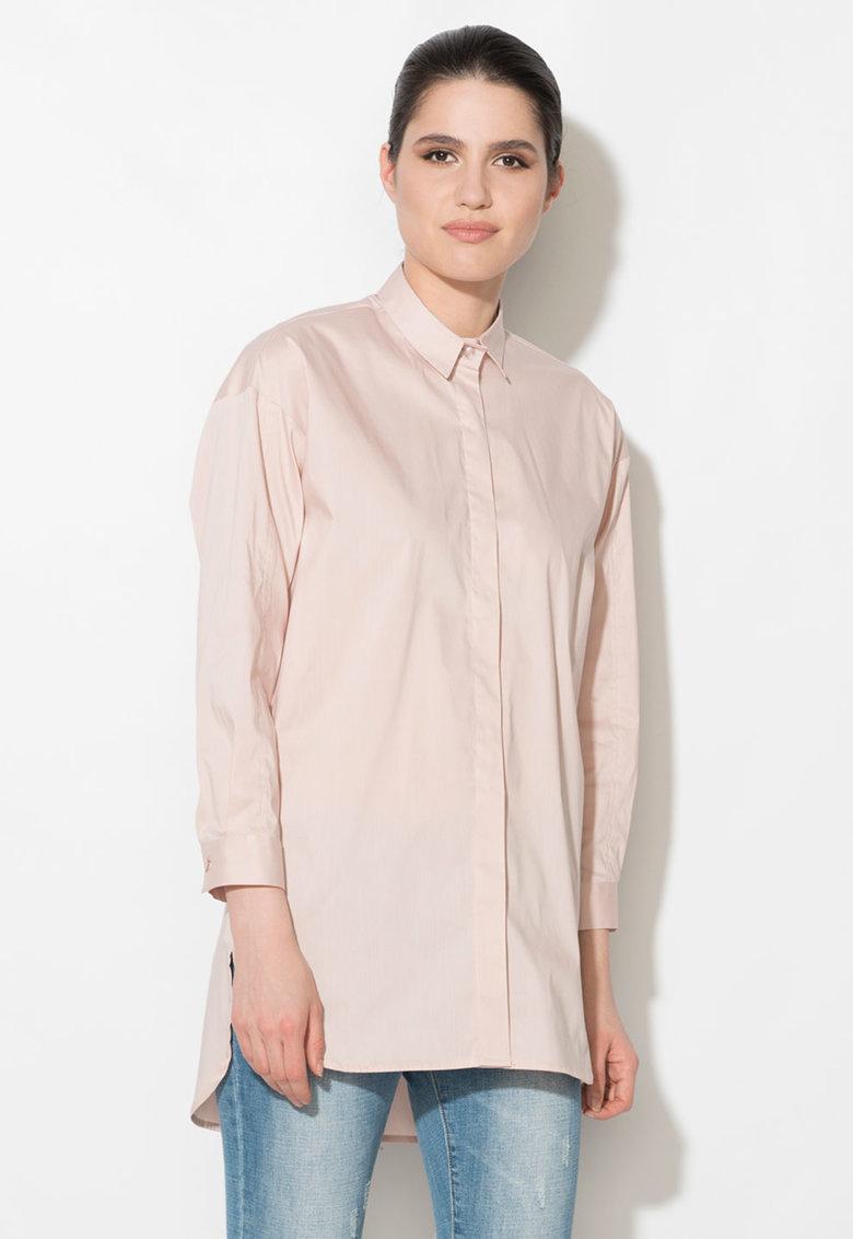 Zee Lane Denim Camasa roz prafuit lunga