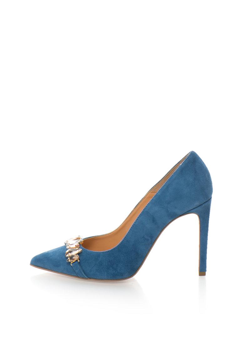 Zee Lane Collection Pantofi stiletto albastru mineral de piele intoarsa cu strasuri