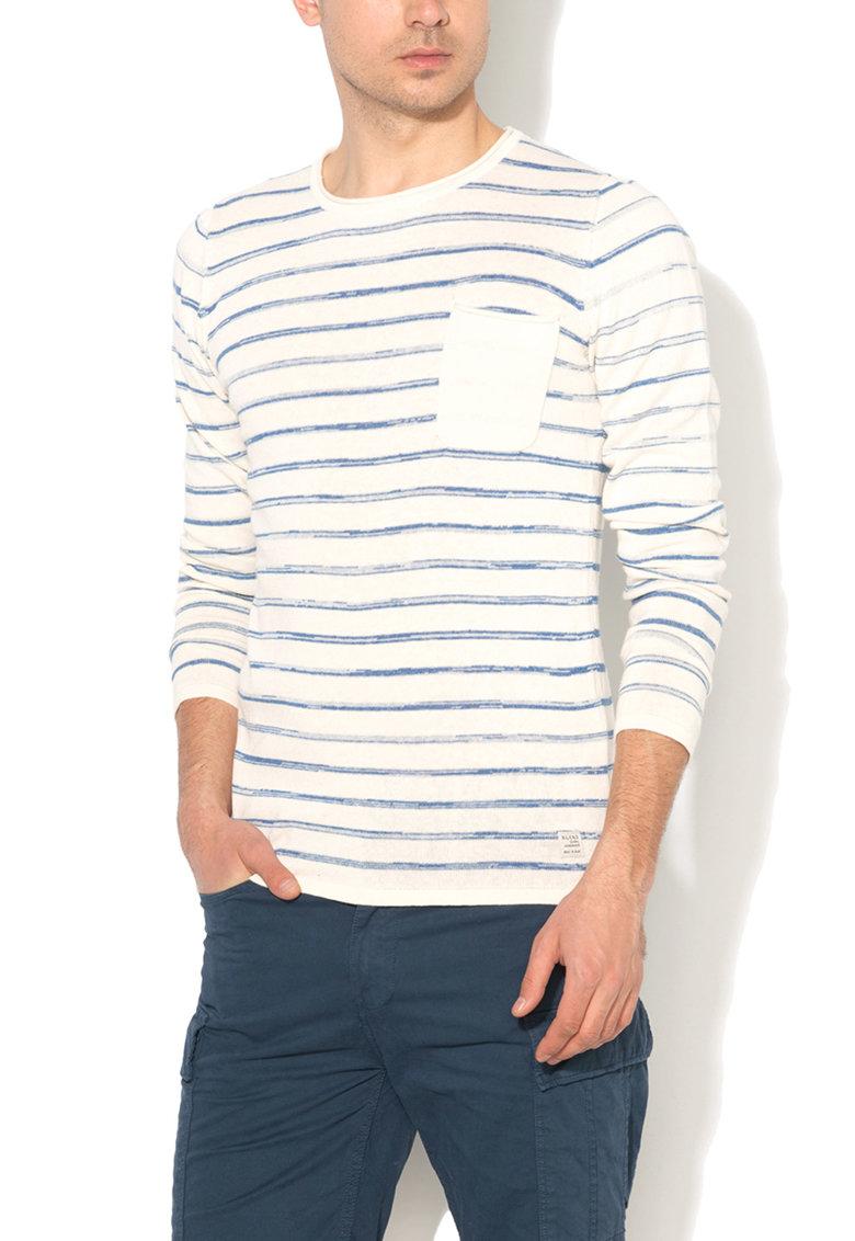 Pulover slim fit alb prafuit cu bleu in dungi