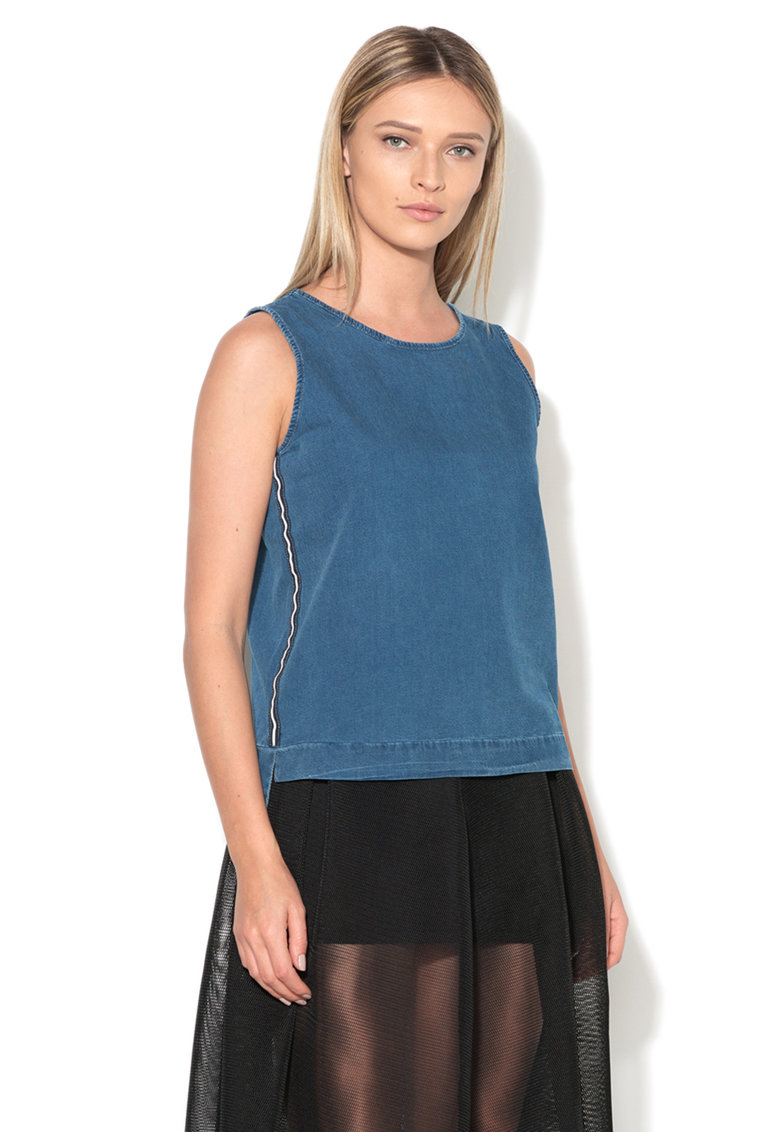 Top albastru texturat Alexane