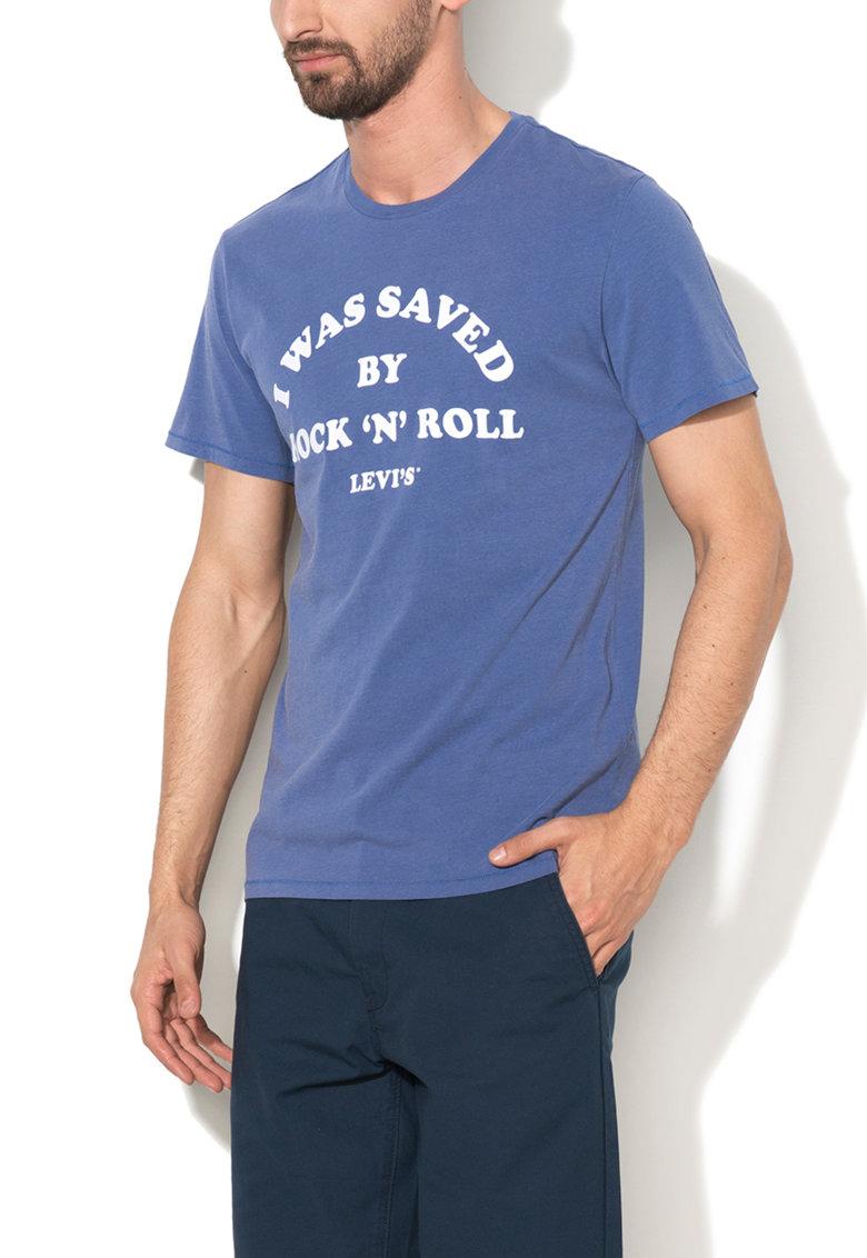 Levis Tricou albastru lavanda cu text