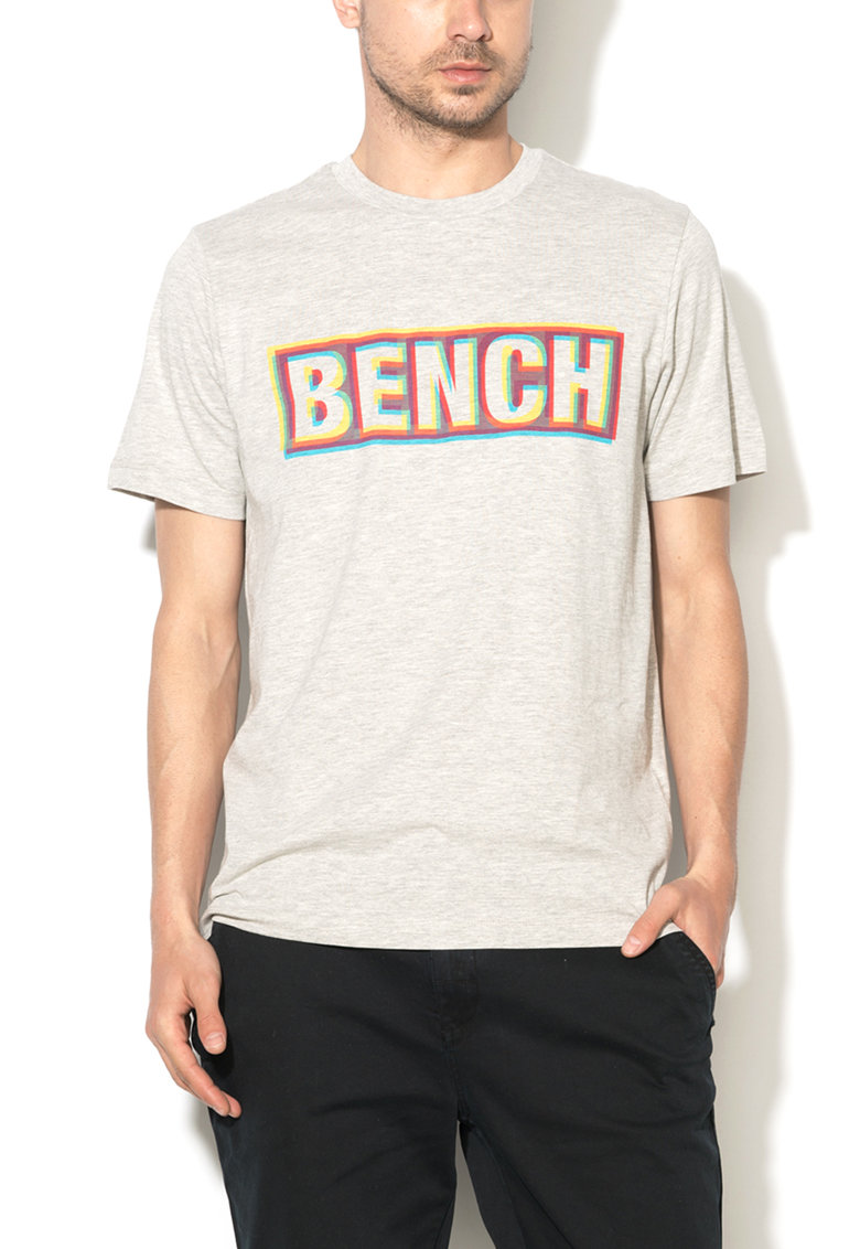 Bench Tricou gri melange cu imprimeu multicolor