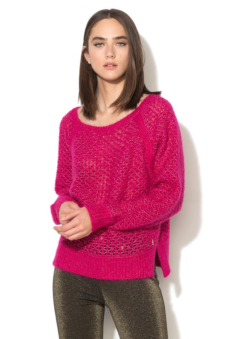 Juicy Couture Pulover fucsia supradimensionat cu insertii de lurex