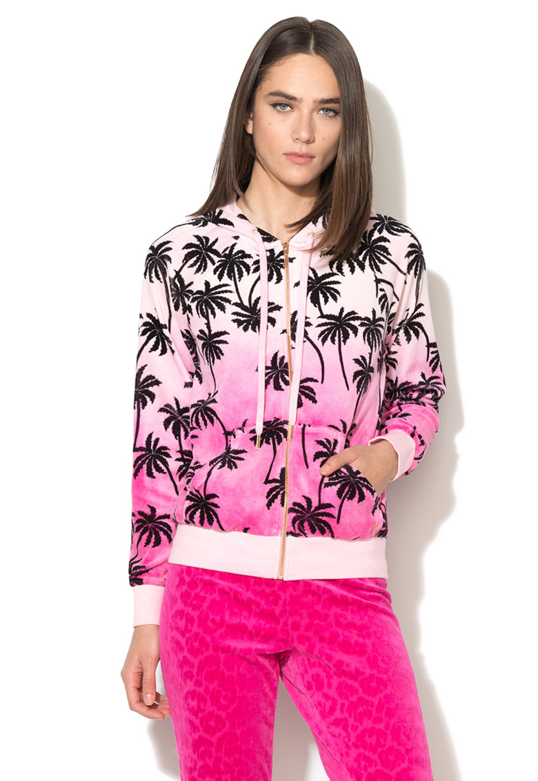 Juicy Couture Hanorac roz in degrade de fleece cu fermoar