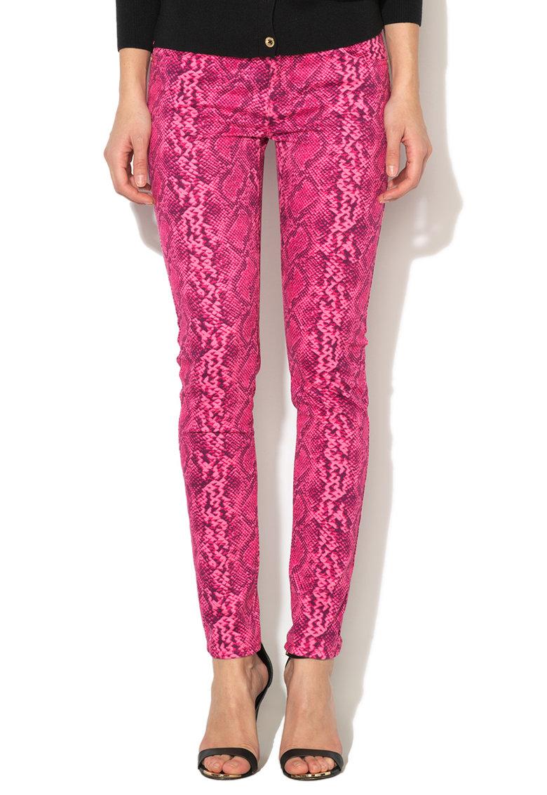 Pantaloni Skinny Roz Si Violet Cu Model Reptila