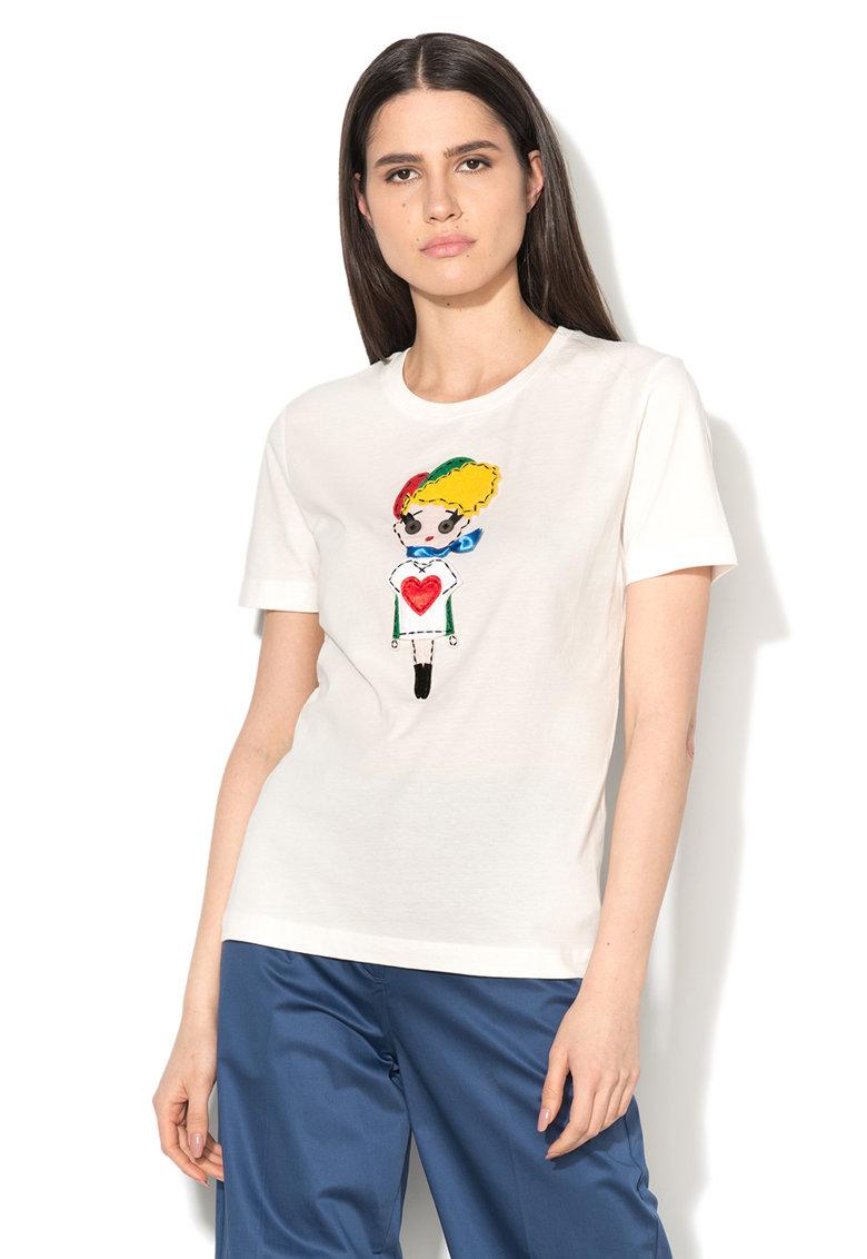Love Moschino Tricou alb cu aplicatie multicolora