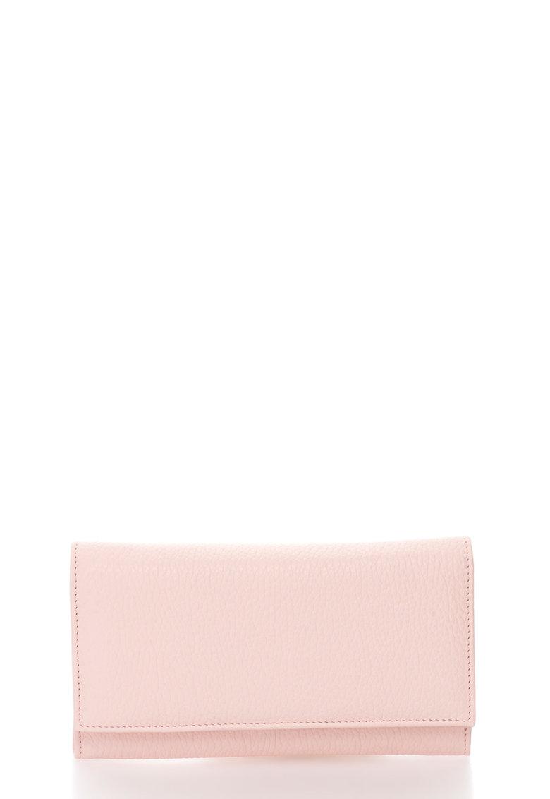 Portofel roz pal de piele cu clapa si capsa