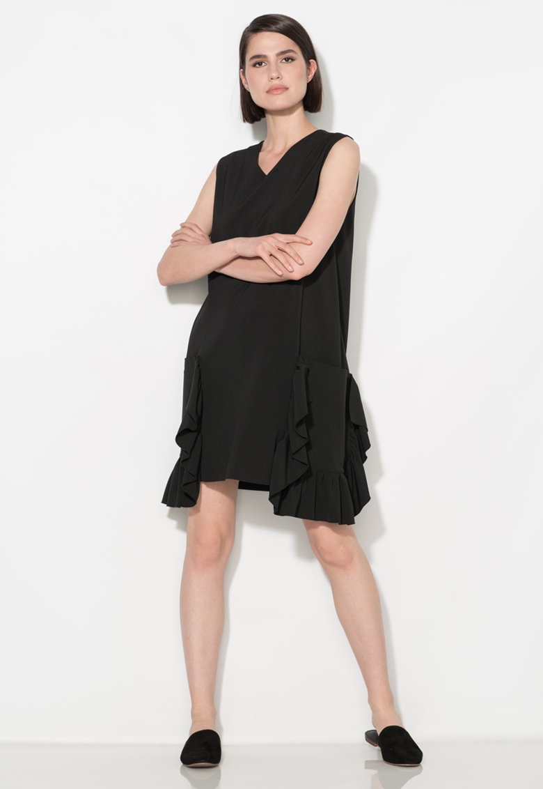 Zee Lane Collection Rochie neagra dreapta cu buzunare supradimensionate