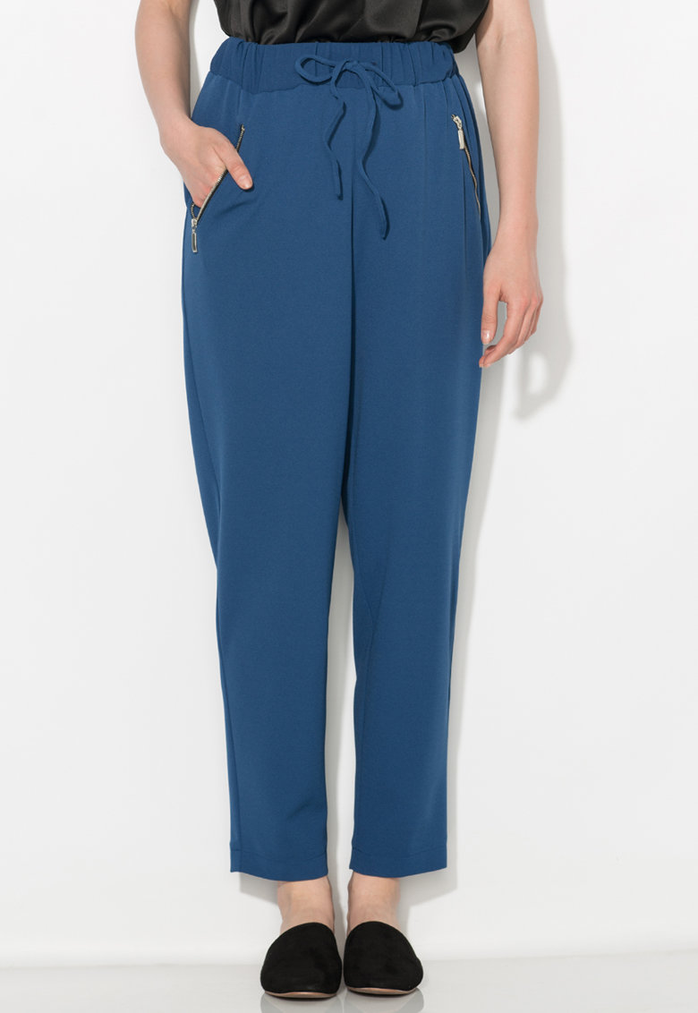 Pantaloni crop albastru inchis Zee Lane Collection