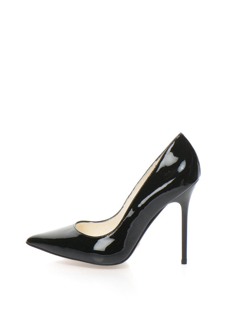 Buffalo Pantofi stiletto negri de piele lacuita
