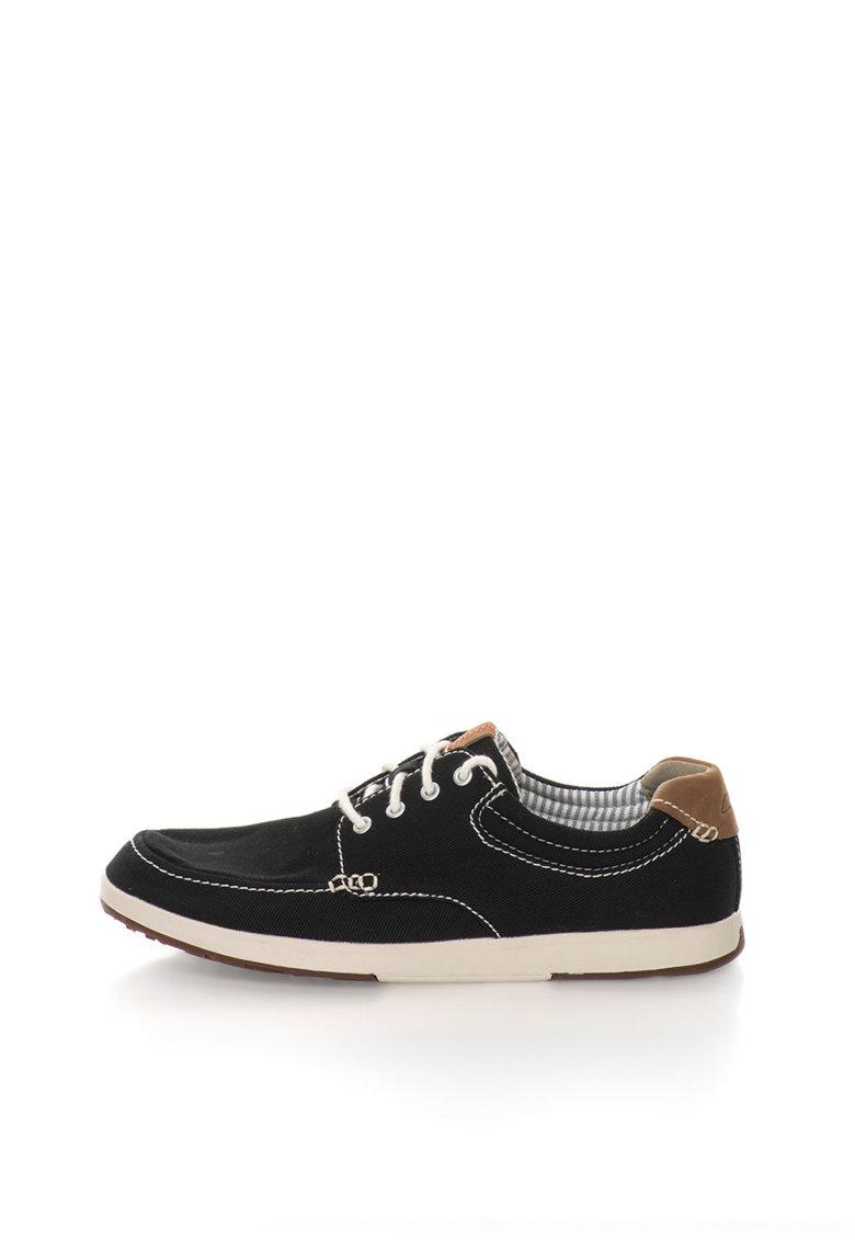Clarks Pantofi casual negri cu cusaturi contrastante Norwin Vibe