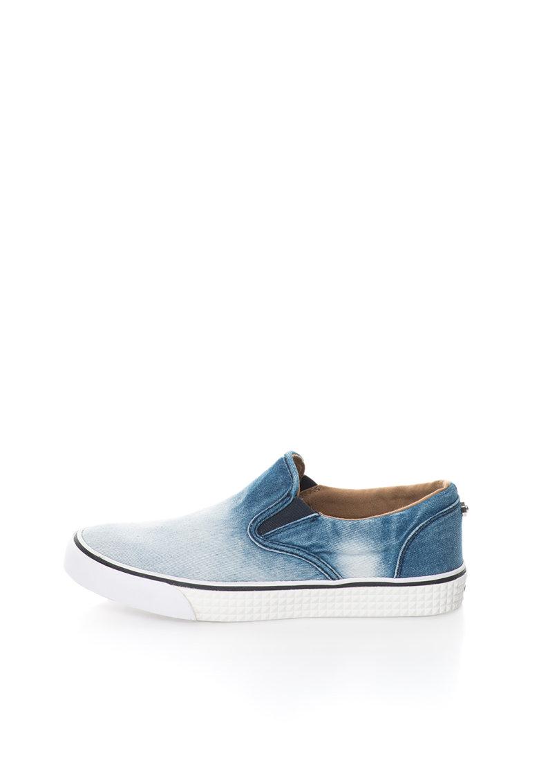 Diesel Pantofi slip-on albastru in degrade cu aspect de denim Vansis