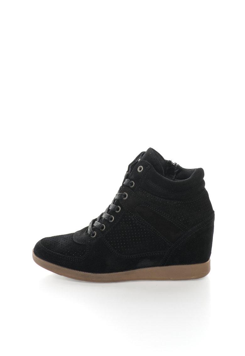 Bullboxer Pantofi sport inalti negri de piele intoarsa