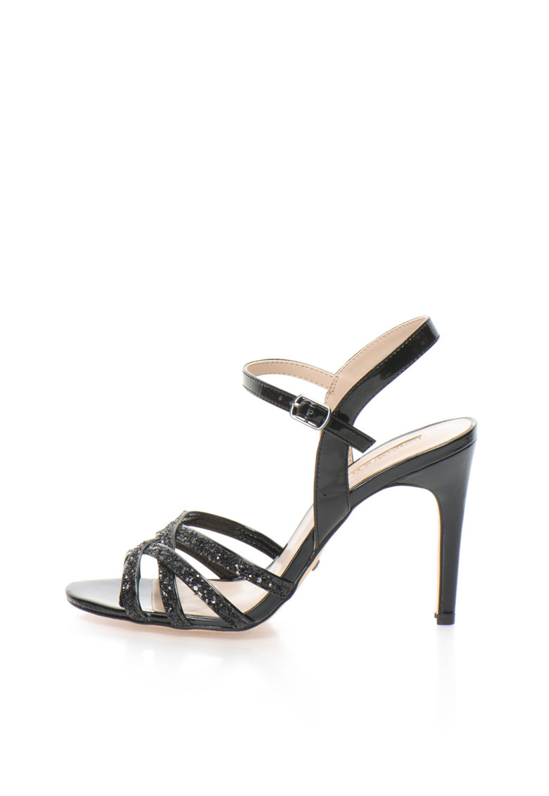 Sandale negre cu toc inalt si particule stralucitoare de la Buffalo