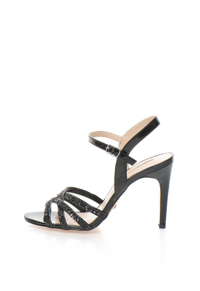Sandale negre cu toc inalt si particule stralucitoare