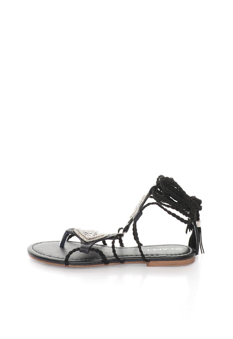 Oakoui Sandale infasurabile negre cu snur impletit Catia