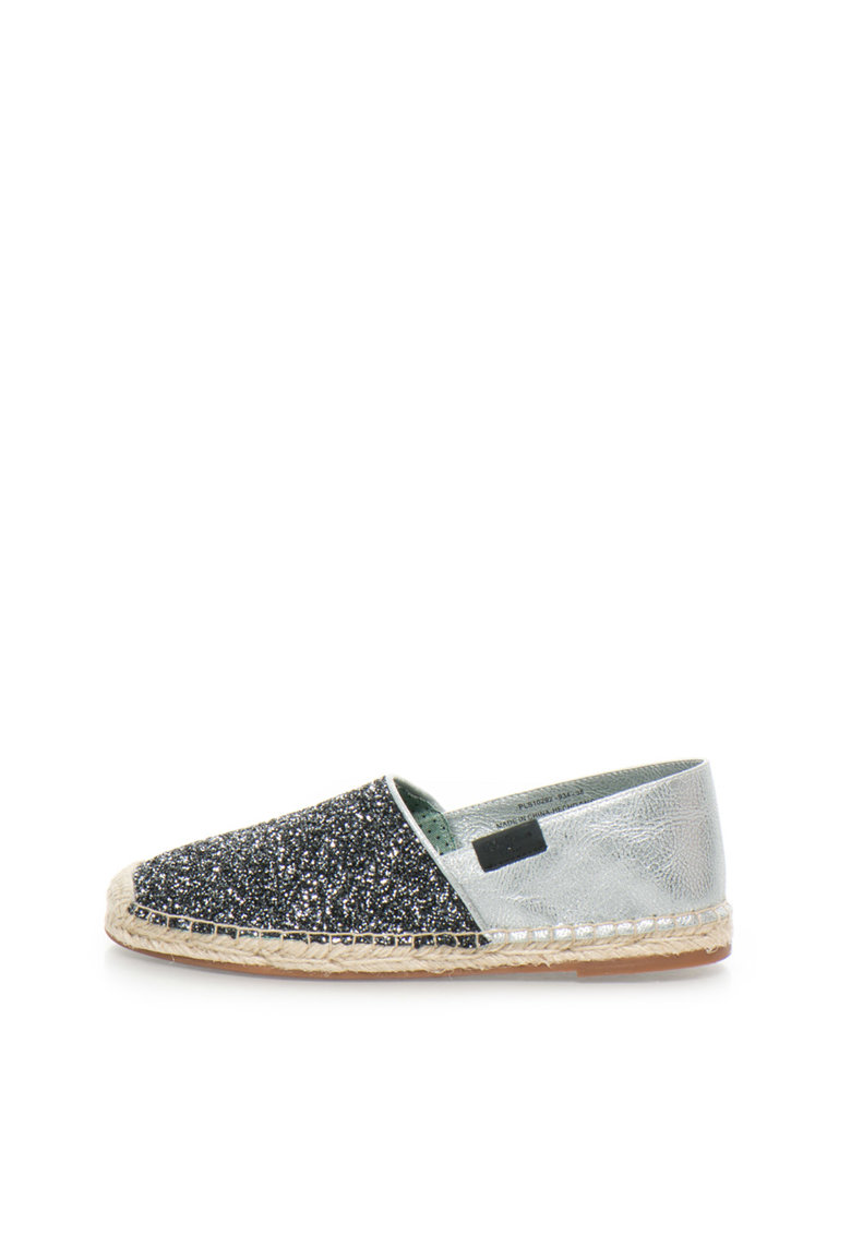 Pepe Jeans London Espadrile slip-on negru cu argintiu Monica Fantasy