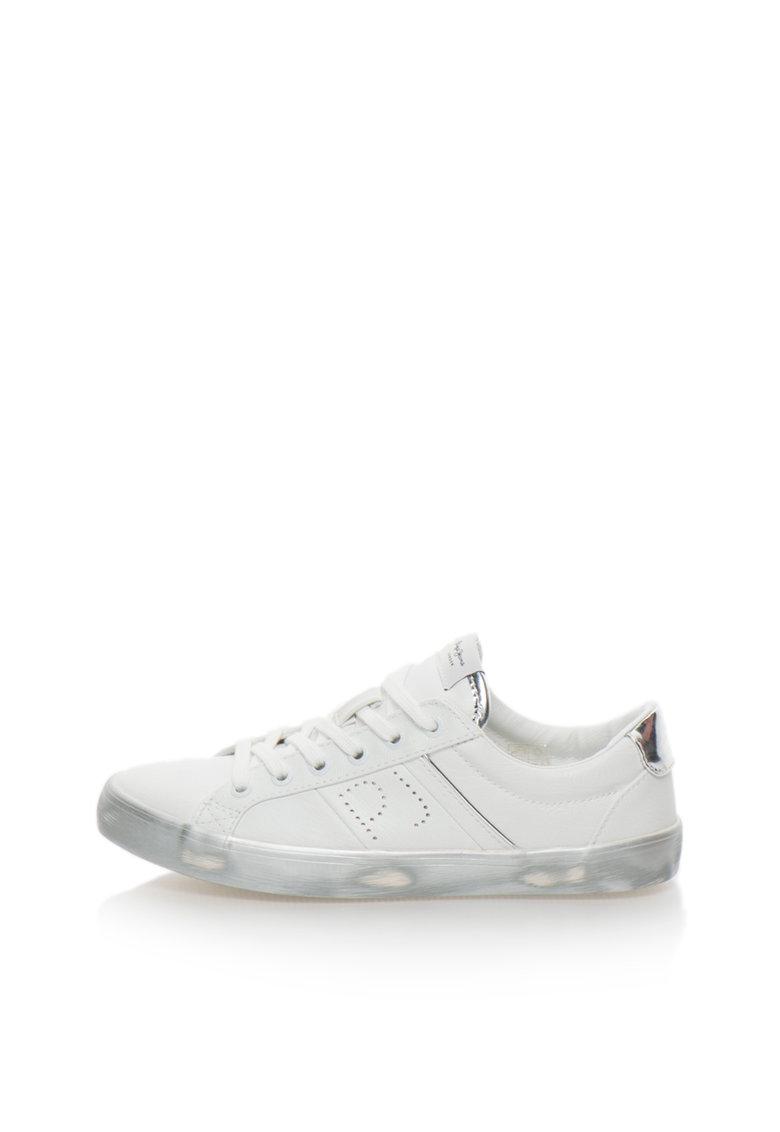 Pepe Jeans London Pantofi sport alb cu argintiu Clinton