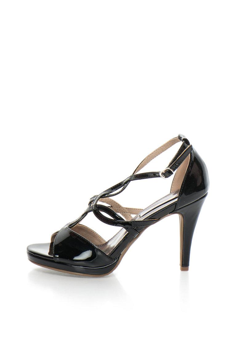XTI Sandale negre lacuite