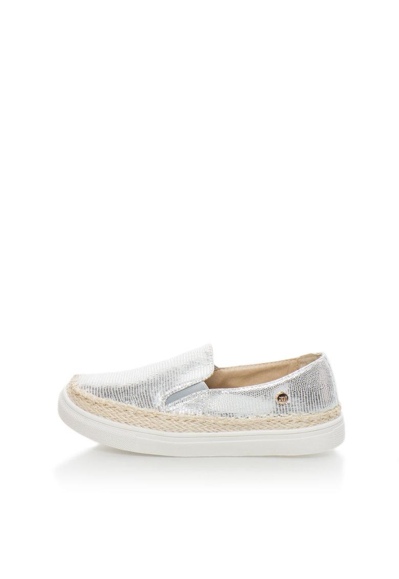 XTI Pantofi slip-on argintii cu aplicatie impletita