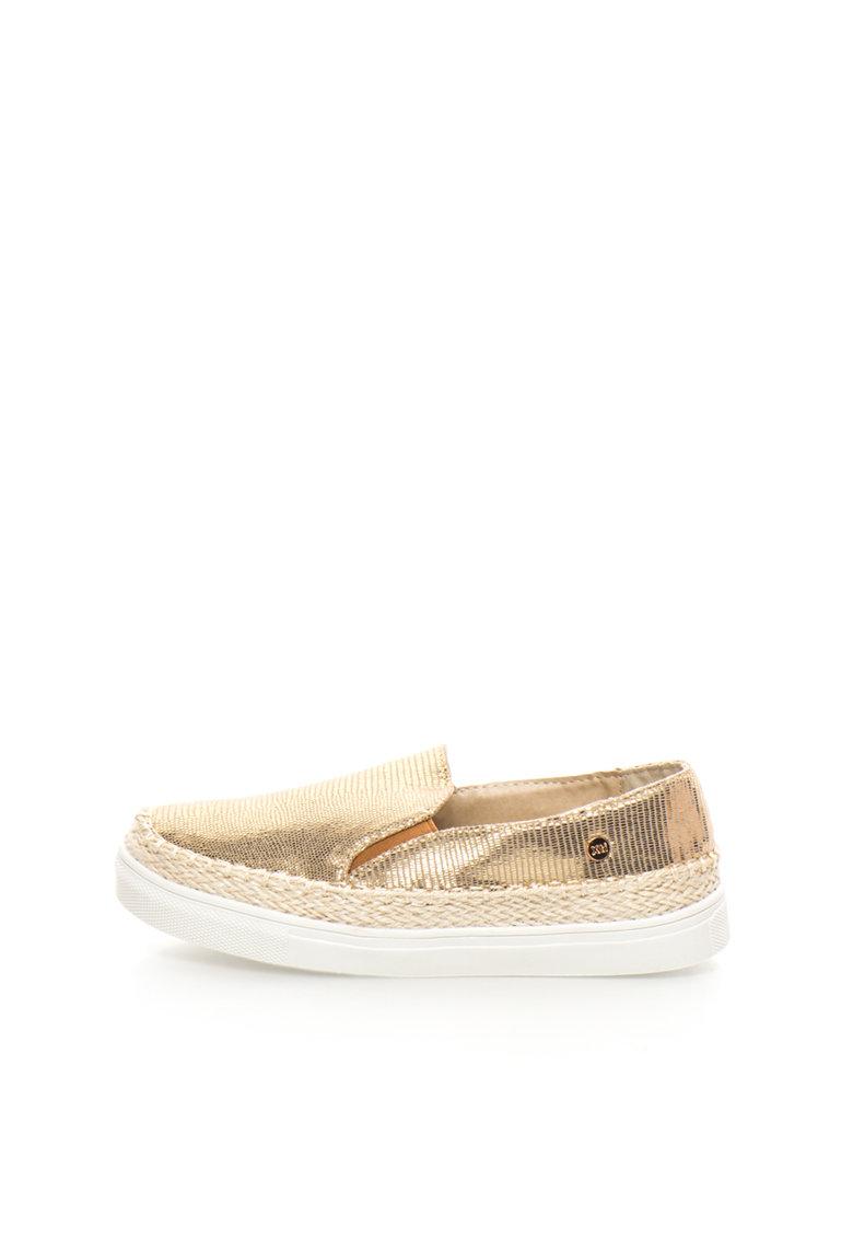 XTI Pantofi slip-on aurii cu aplicatie impletita