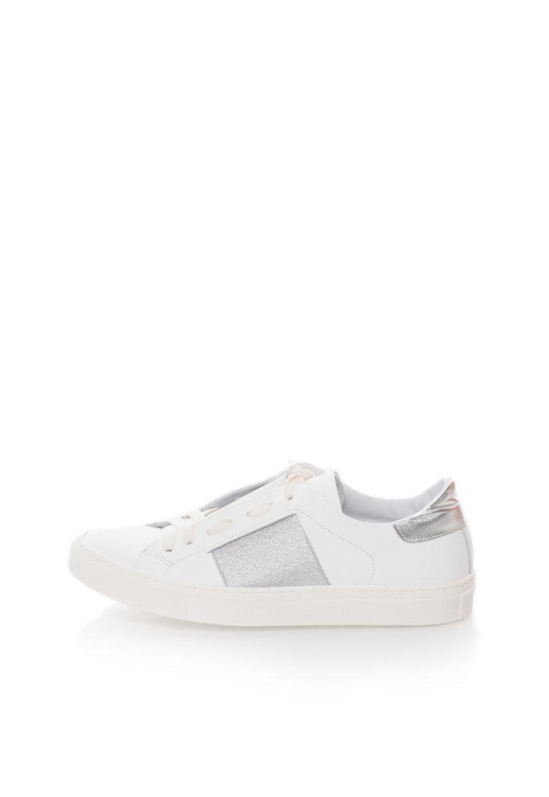 Zee Lane Pantofi sport albi de piele cu garnituri argintii