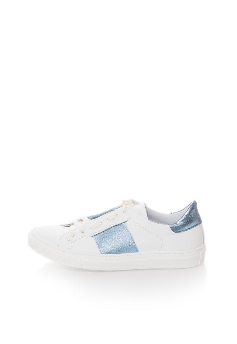 Zee Lane Pantofi sport albi de piele cu garnituri albastru metalizat