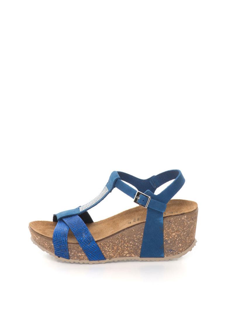 Zee Lane Sandale wedge albastre de piele nabuc