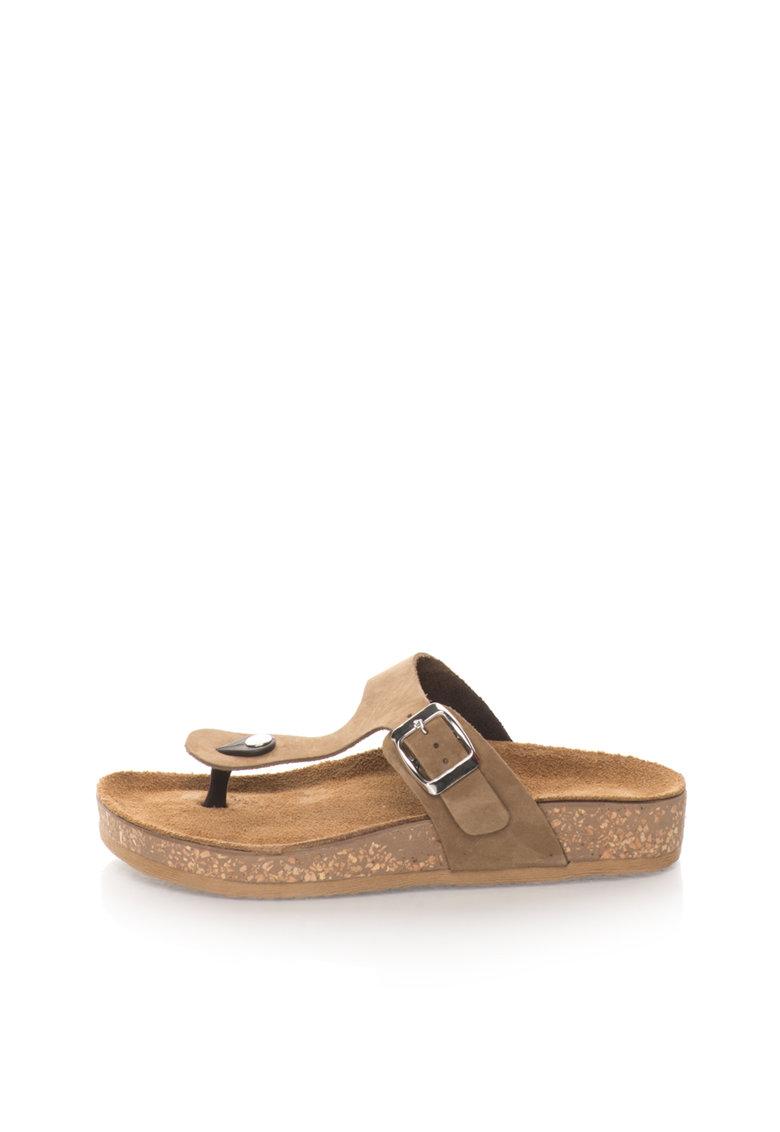 Zee Lane Papuci flip-flop maro taupe de piele nabuc