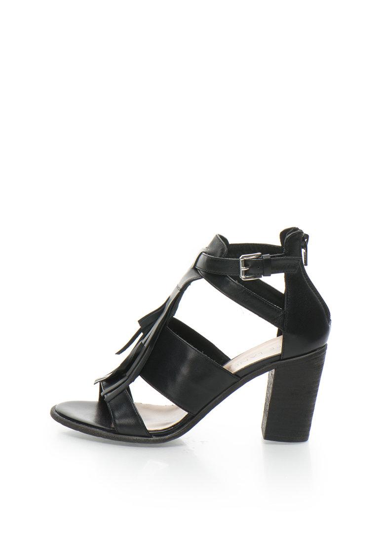 Zee Lane Sandale negre de piele cu franjuri