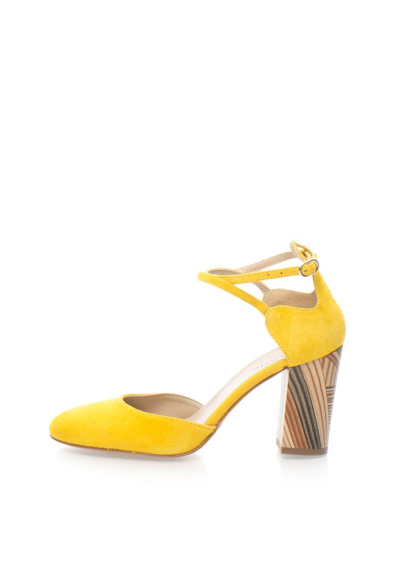 Zee Lane Pantofi d`Orsay galbeni de piele intoarsa cu bareta pe glezna